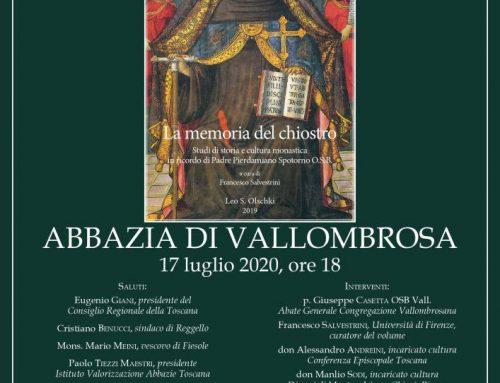 """Reggello-Vallombrosa: il nuovo libro """"La memoria del chiostro"""""""